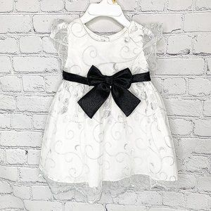NEW w TAGS SWEETHEART ROSE 12M WHITE DRESS BLK BOW
